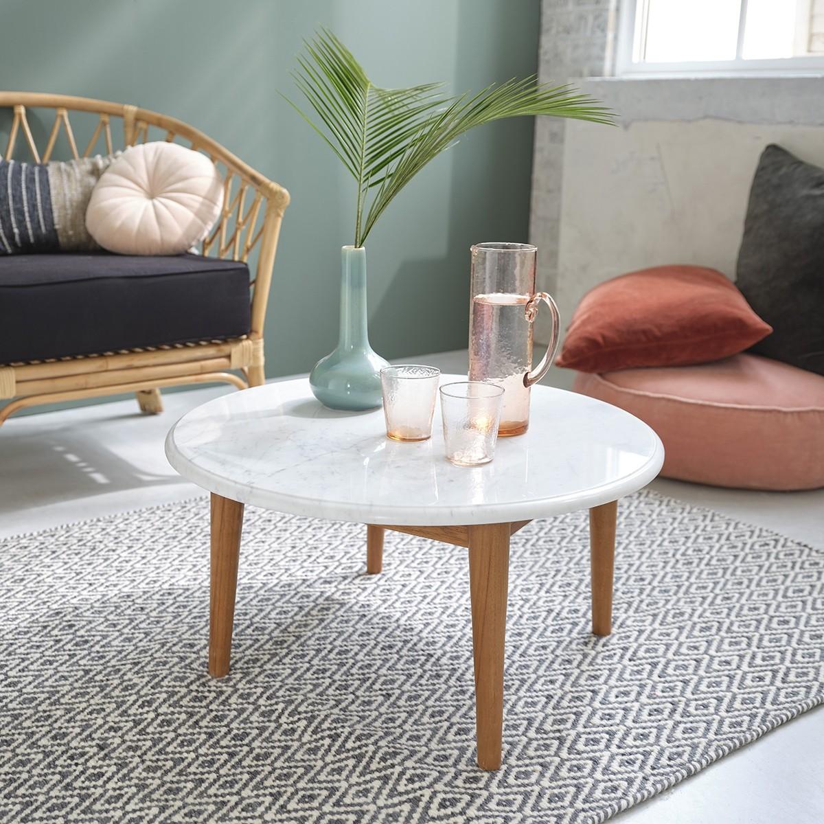 table basse ronde en marbre blanc et bois de teck 70