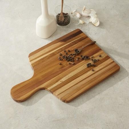 planche a decouper en bois de teck avec poignee