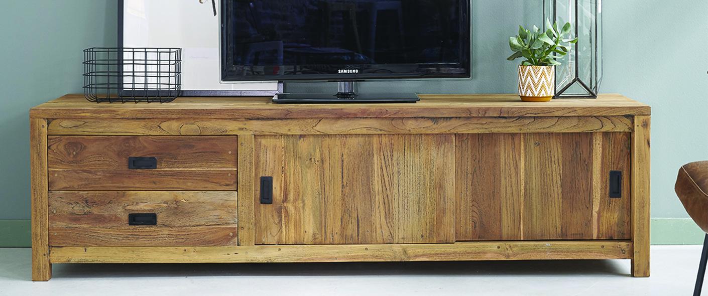 meuble tv en bois de teck recycle 180