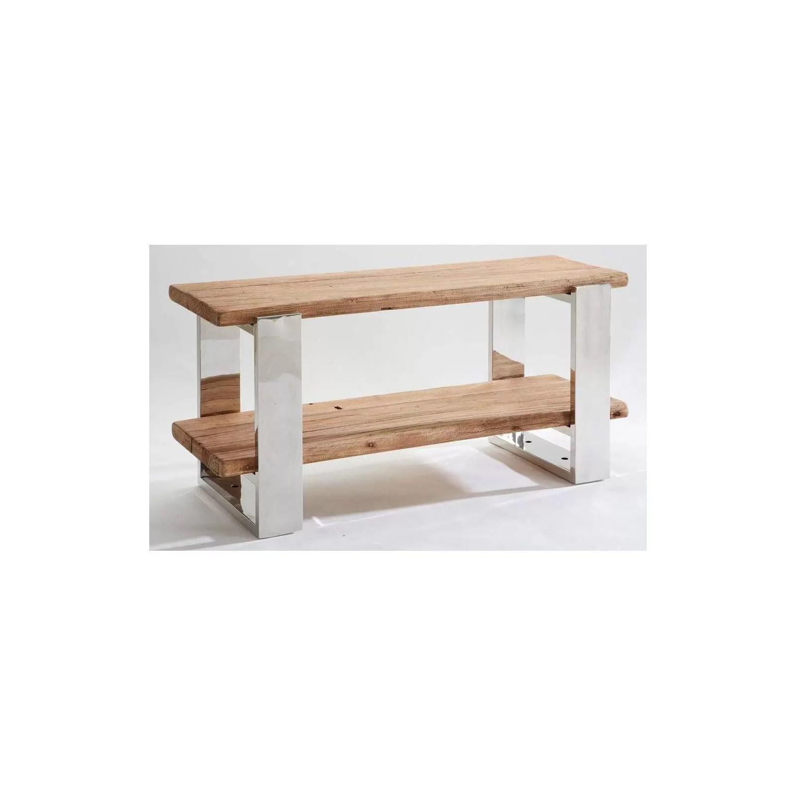 meuble tv stainless ethnique chic en bois et metal 150cm bois et chiffons