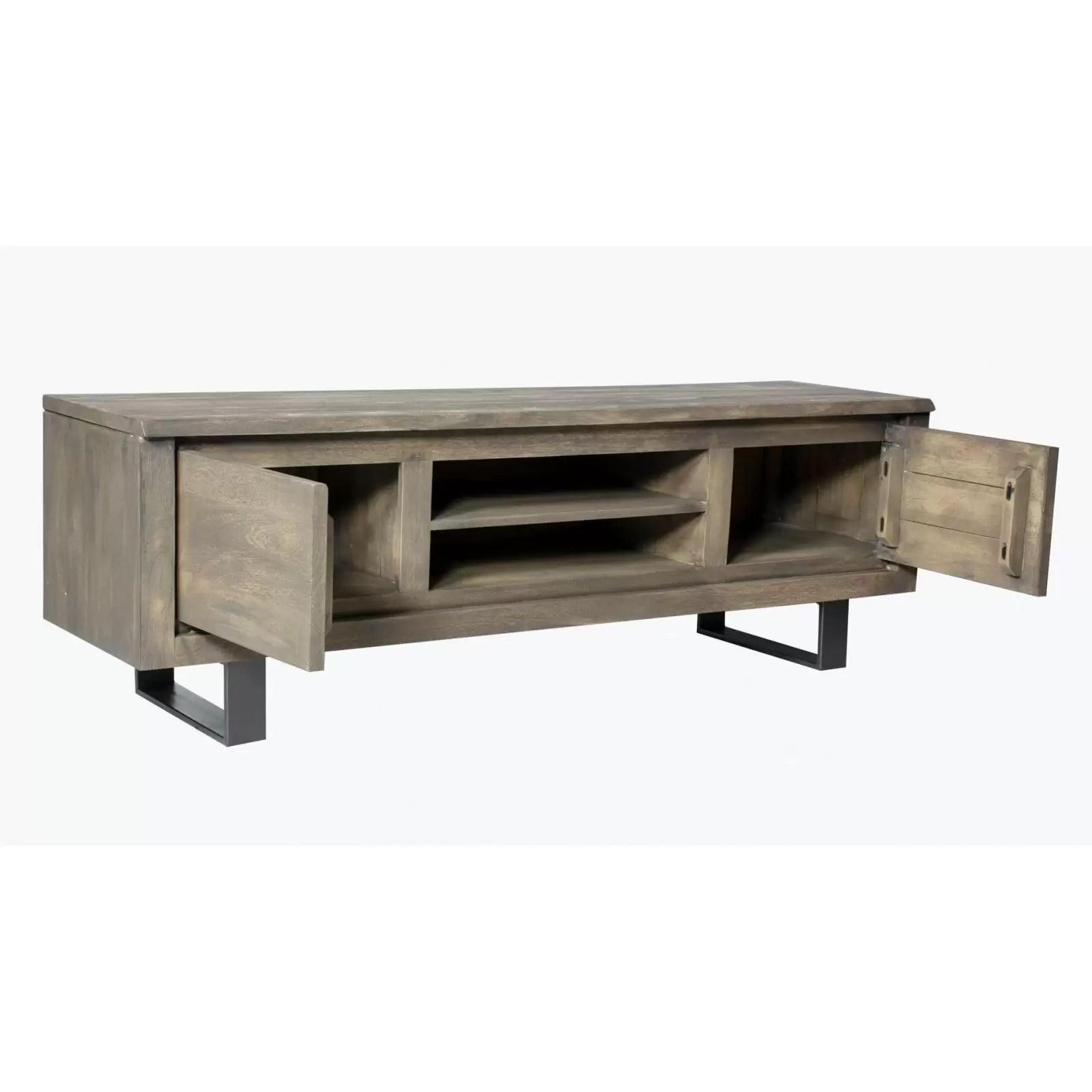 meuble tv new york en bois manguier massif 2 portes et 2 etageres