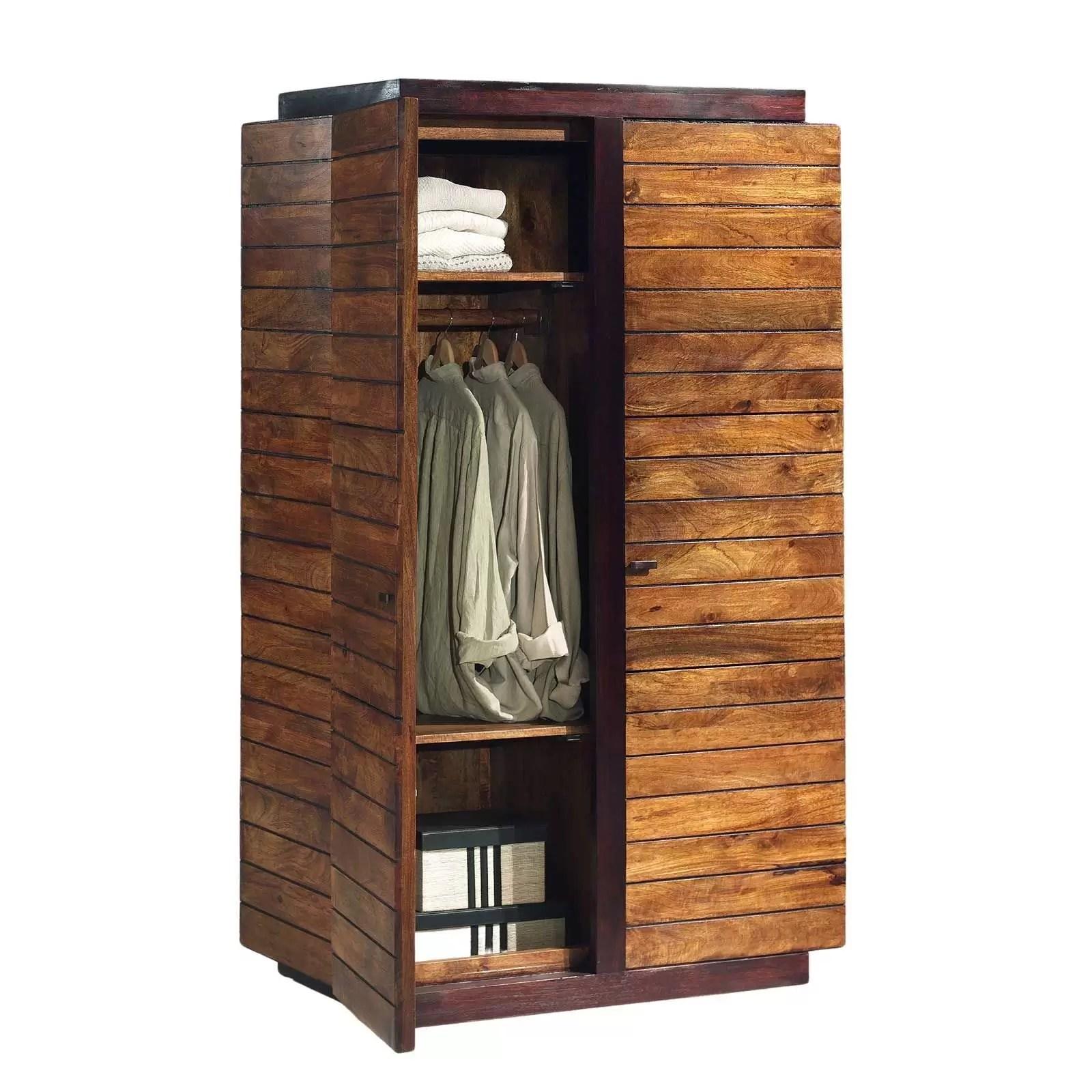 armoire penderie bois massif bicolore
