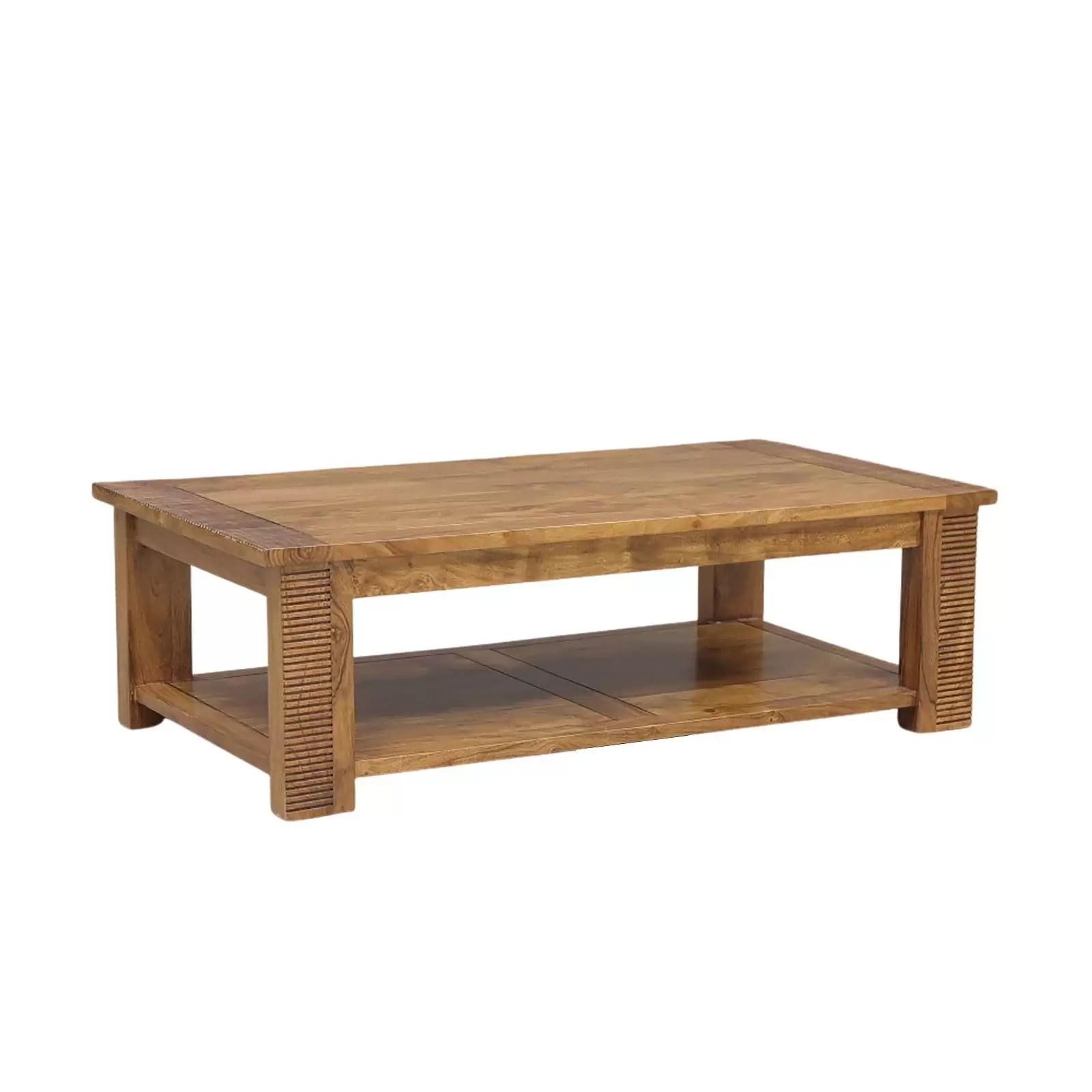 meuble tv verone ethnique chic en bois d acacia massif 2 portes et 2 niches