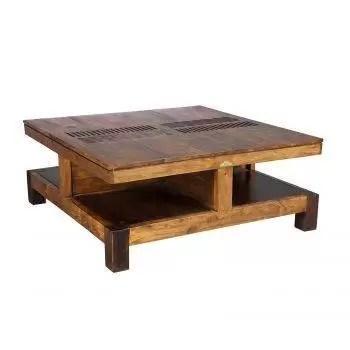 table basse carree bois massif sculpte acacia domino