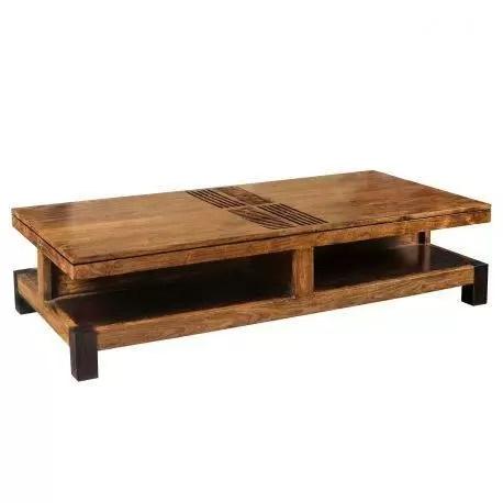 grande table basse rectangulaire bois sculpte acacia domino