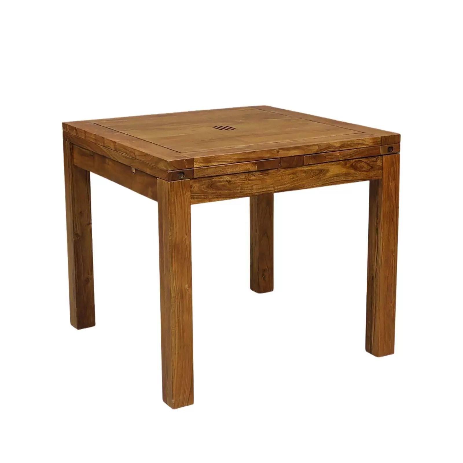table de repas carree ethnique chic gordon 2 allonges en acacia massif