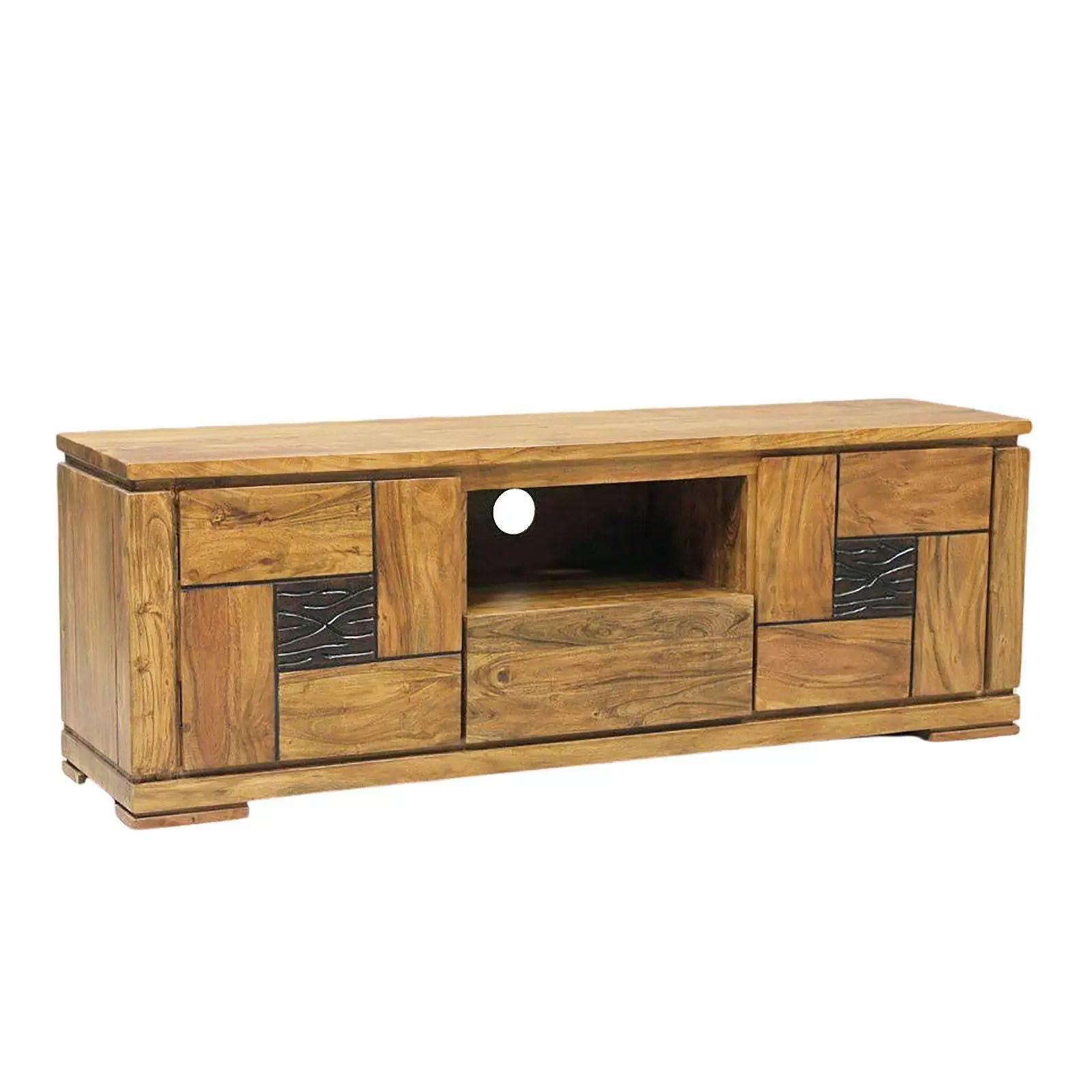 meuble tv maya ethnique chic en bois d acacia massif 2 portes et 3 tiroirs