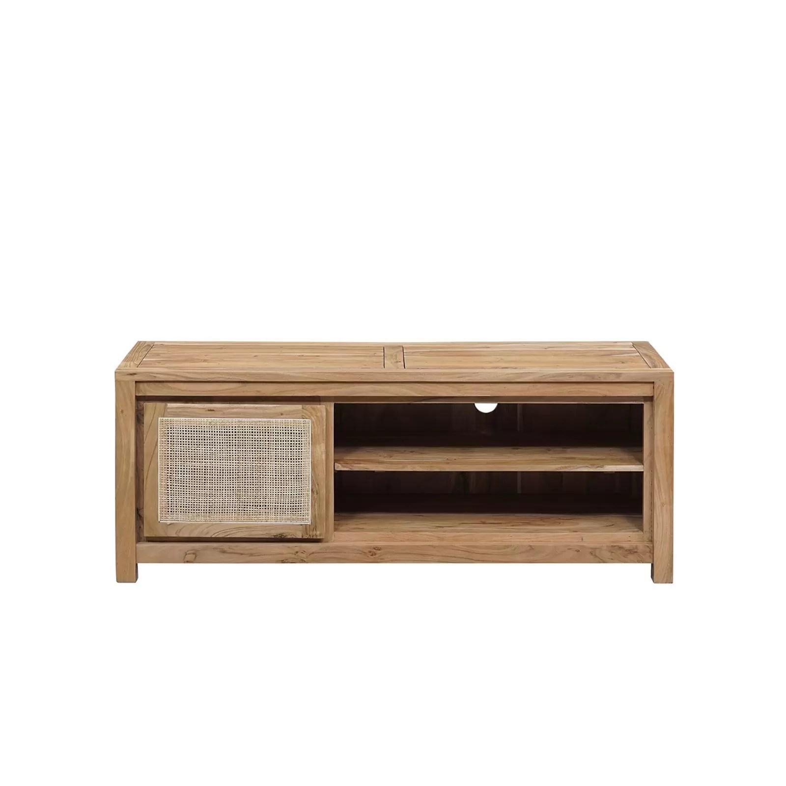petit meuble tv bois nature porte cannage acacia tatoo ii