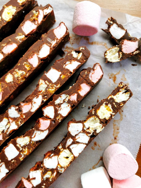 Rocky Road au pop corn et chamallow