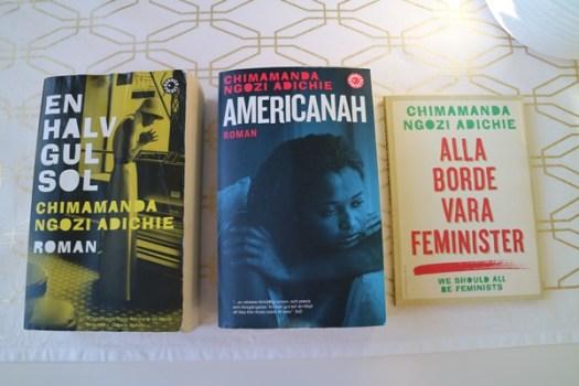 Americanah, En halg gul sol och Alla borde vara feminister av Chimamanda Ngozi Adichie
