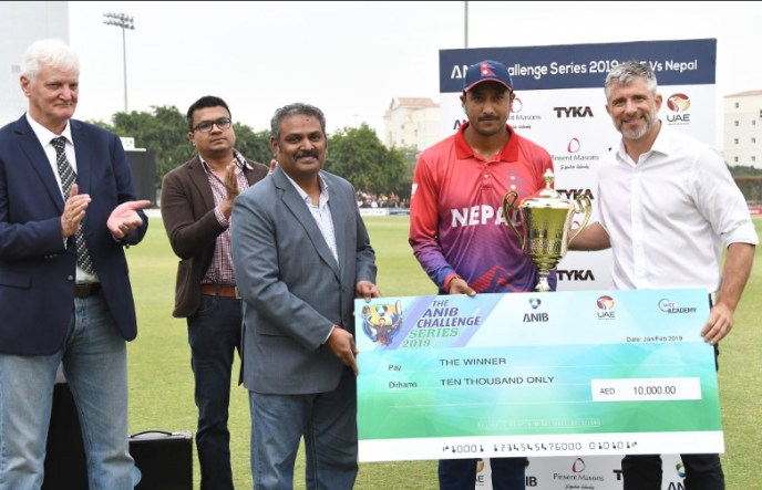 Nepal cricket team claiming  ANIB Challenge Twenty20 Series 2019 Vs UAE