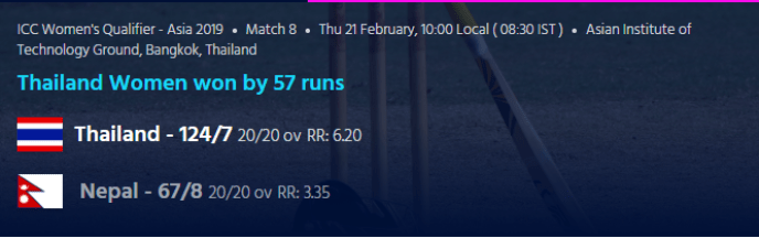 ICC Women's World Cup T20 Asia Qualifier match - Nepal Vs Thailand
