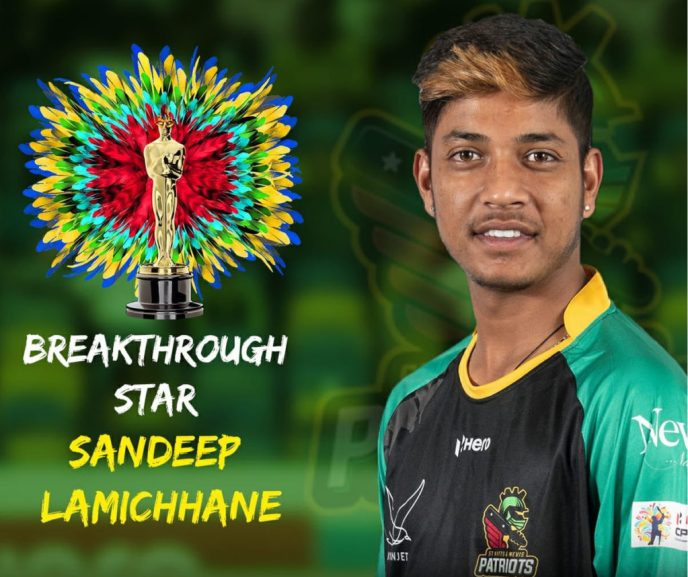 Sandeep Lamichhane has been honored with the title 'Breakthrough Stars'