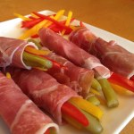 Prosciutto rolls with pickled Bolder Beans