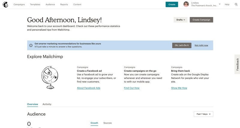 The Mailchimp interface is just cool
