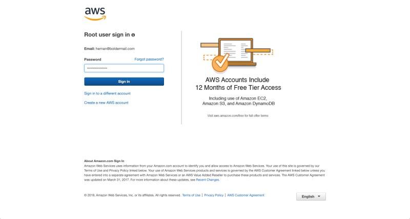 Enter your Amazon Web Services account password | Boldermail