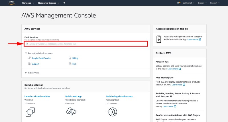The AWS Management Console | Boldermail
