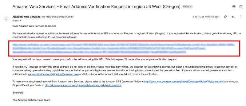 Verification email to confirm your email address on Amazon SES