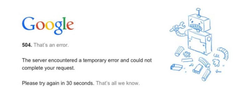 Google 504 error screen