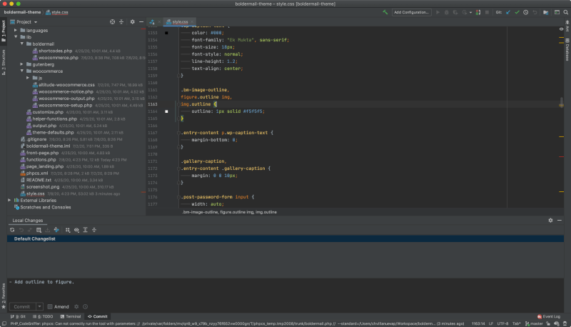 The IntelliJ development environment is well suited for ReactJS and Gutenberg development.