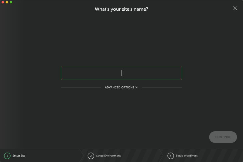 Enter a name for your new Local site