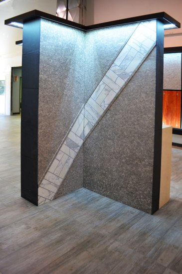 Fossil Grey Bolder Stone Panel installed in our main showroom