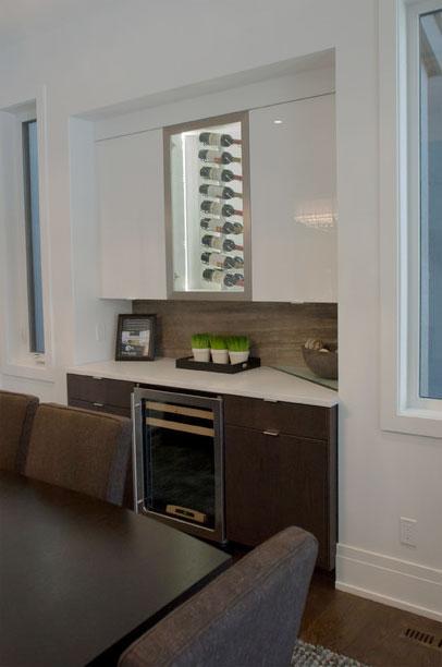 Persian Silver Bolder Stone Panel installed as a built-in sideboard/bar backsplash