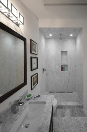 Bianco Carrara Bolder Panel Installed in a shower