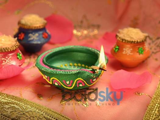 Green Painted Diya