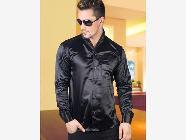 Blue pant combination with black satin shirt