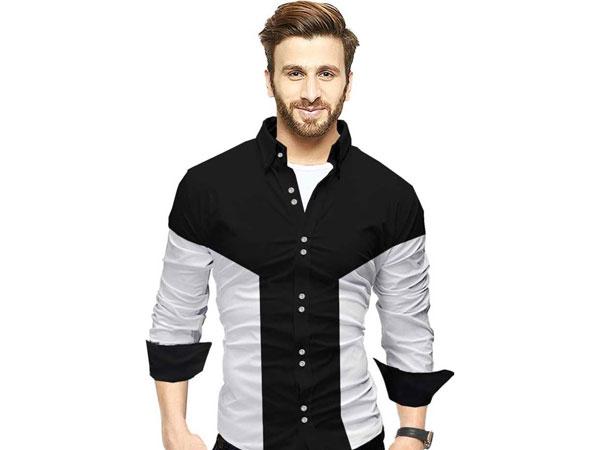 Blue pant combination with colour block shirt
