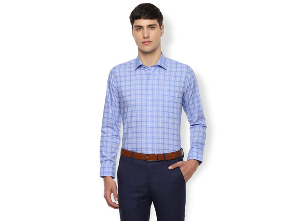 Blue pant combination with checked shirt