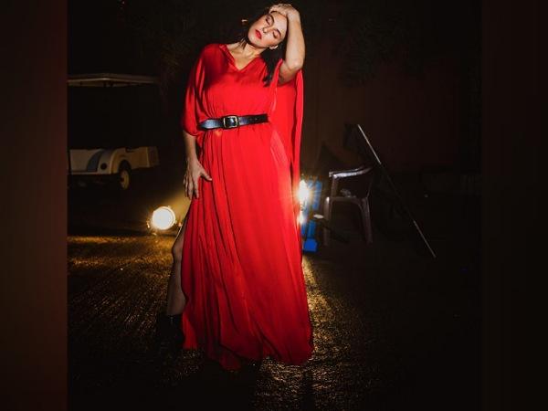 Neha Dhupia Stuns In A Red Maxi Dress