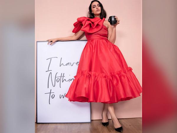 Neha Dhupia In A Ruffle Red Dress