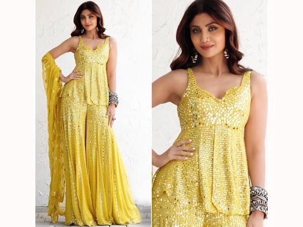 Shilpa Shetty In A Sequin Yellow Sharara Set