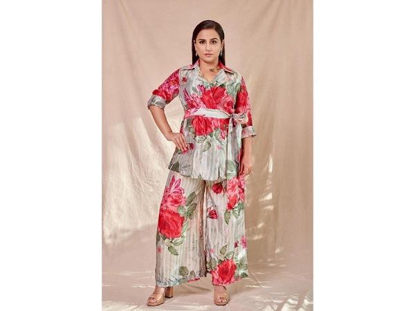 Vidya Balan In A Grey And Red Floral Palazzo Set