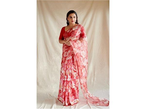 Vidya Balan In A Pretty Red Floral Saree