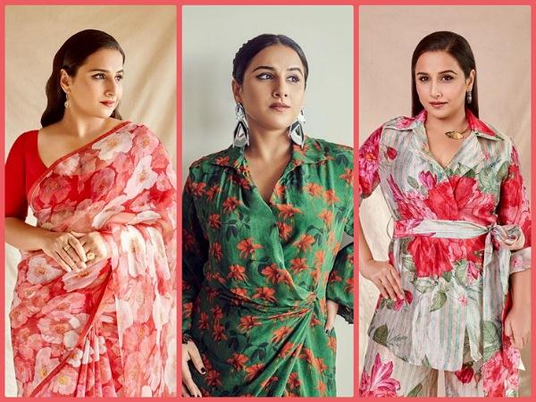 Vidya Balan In A Green Floral Dress
