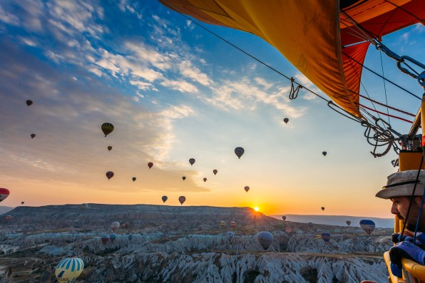 Cappadocia Hot Air Balloon flight over the fairy chimneys in Turkey