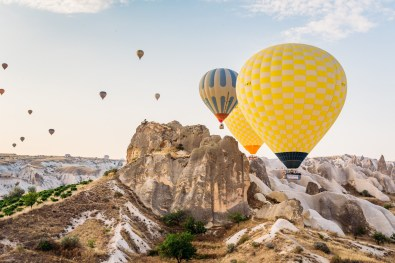 The final minutes of our hot air balloon flight over Cappadocia