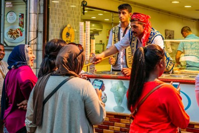 Turkish ice cream man on Istiklal Street