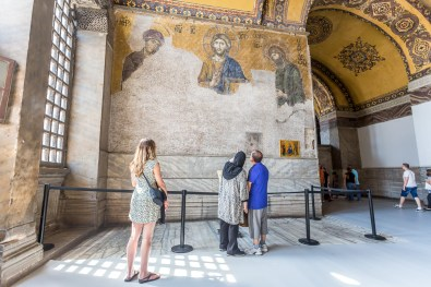 Admiring the Christian mosaics of Hagia Sophia