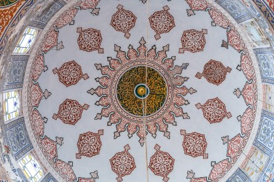 Admiring the dome of the Blue Mosque (Sultan Ahmet Camisi) Istanbul Turkey