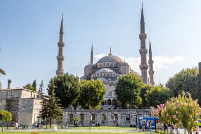 The view of Blue Mosque (Sultan Ahmet Camisi) from the lawn