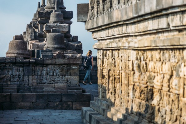 Exploring the different stone carvings in bas-relief at Borobudur temple