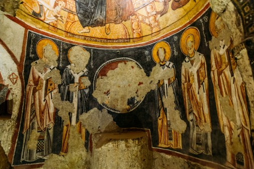 Defaced frescos of the Goreme Open Air Museum