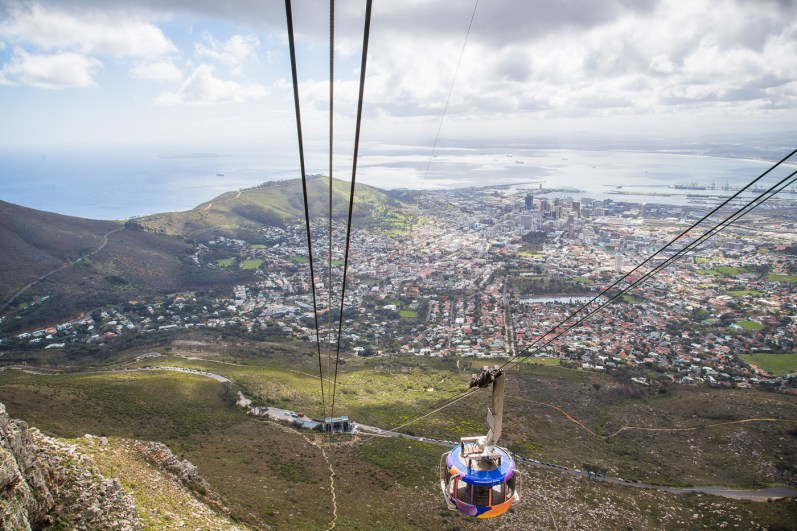 Riding the cable car down Table Mountain after completing the Skeleton Gorge Trail