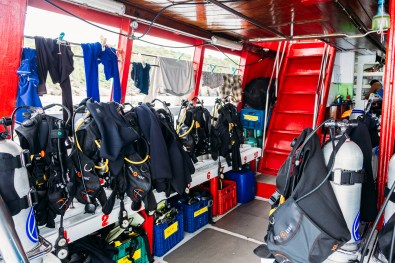 The scuba diving equipment deck on our Similan Islands liveaboard