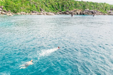 Snorkeling between dives on the Similan Islands liveaboard