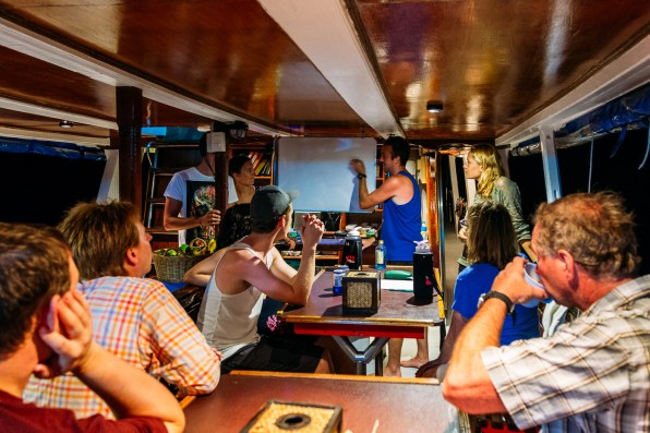 Playing games on the main deck of our Wicked Diving Similan Islands liveaboard